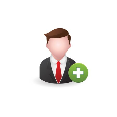 Businessman with plus sign icon in color. Business team recruit Illustration