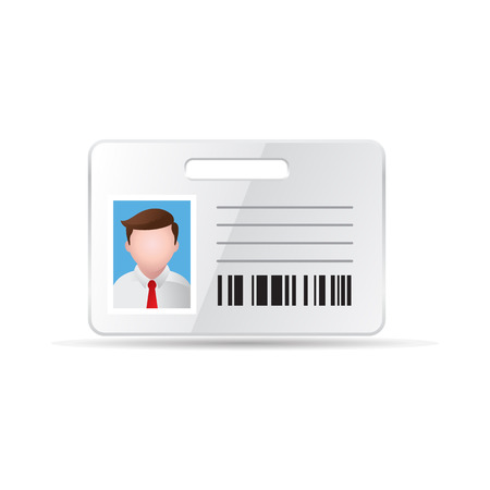 identity card: ID Card icon in color. Identity office businessman