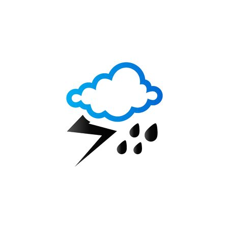 Weather overcast storm icon in duo tone color. Nature forecast thunder