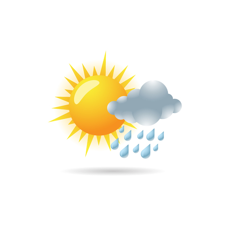 Weather overcast partly rain icon in color. forecast raining season monsoon