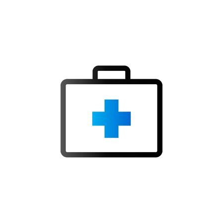 blue button: Medical case icon in duo tone color. Health care equipment storage