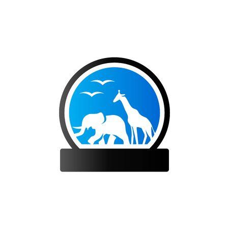 funny: Zoo gate icon in duo tone color. Animal park jungle Illustration