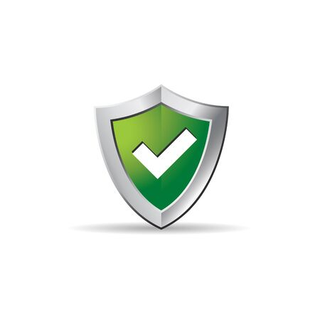 checkmark: Shield icon with checkmark in color. Protection guard safety