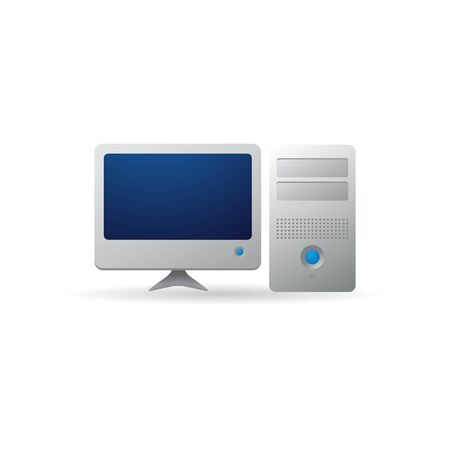 design office: Desktop computer icon in color. Electronic office monitor
