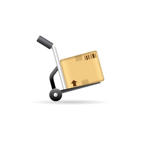 Logistic trolley icon in color. Delivery storage shipping