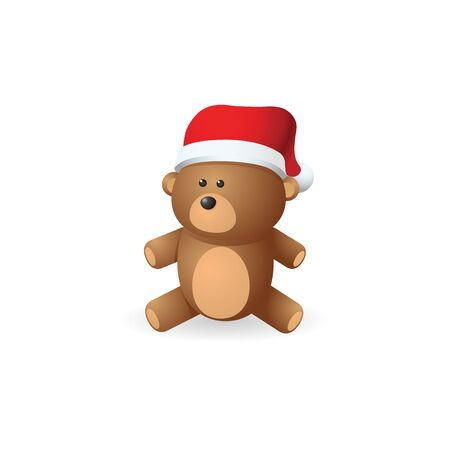 acquaintance: Teddy bear icon in color. Christmas celebration gift