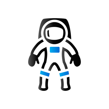 weightlessness: Astronaut icon in duo tone color. Space protective gear Illustration