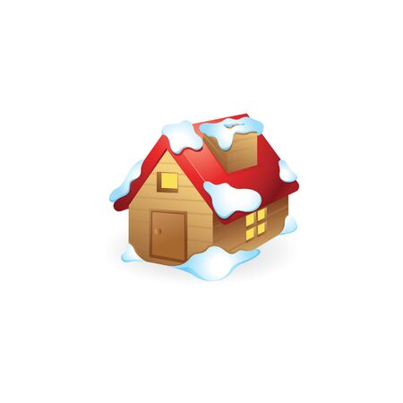 House with snow icon in color. December Christmas