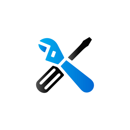 Mechanic tools icon in duo tone color. Wrench screw driver mechanic