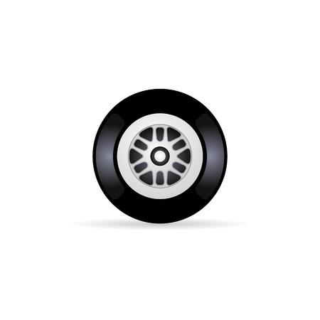 rim: Car tire icon in color. Transportation vehicle wheel