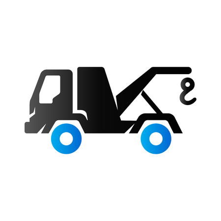 the wrecker: Tow icon in duo tone color. Car emergency evacuation