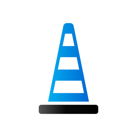 danger: Traffic cone icon in duo tone color. Road construction warning