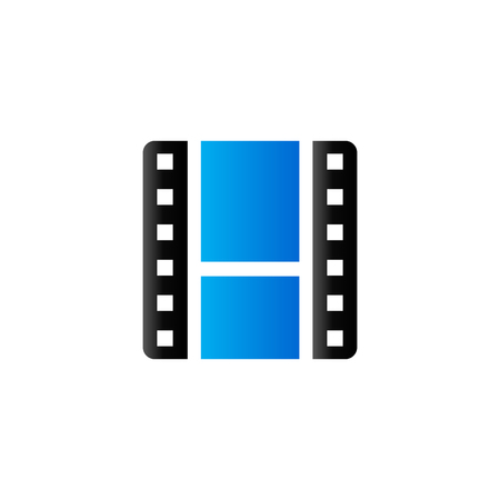 music: Video file format icon in duo tone color. Computer data movie Illustration