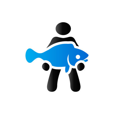 fish tail: Man holding fish icon in duo tone color. Fishing fisherman catch Illustration