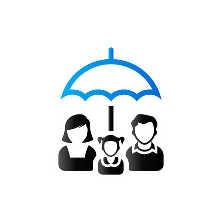 Family umbrella icon in duo tone color. Insurance protection safety Illustration