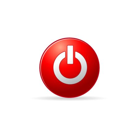 shiny buttons: Power button icon in color. On off electronic Illustration
