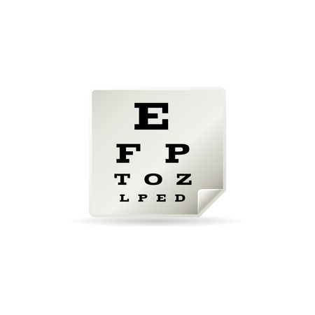 Eye test page icon in color. Letters small tiny Illustration