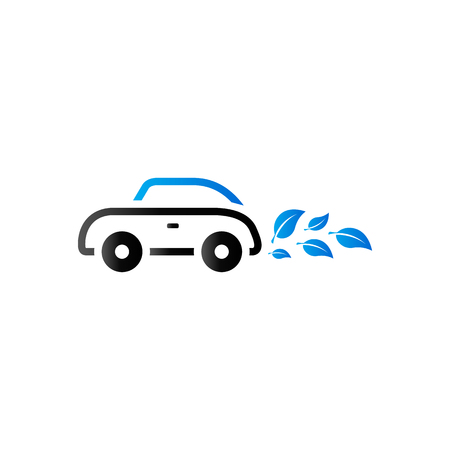 clip art cost: Green car icon in duo tone color. Low emission electric vehicle