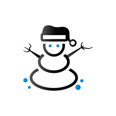 Snowman icon in duo tone color. Snow winter December