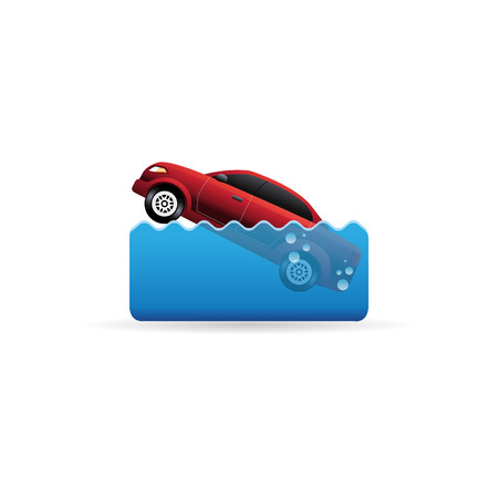 drowned: Drowned car icon in color. Automotive accident flood