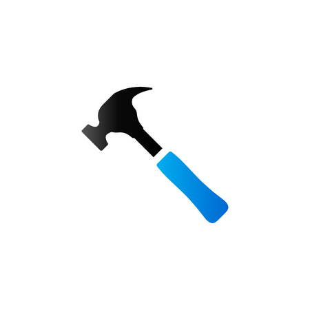 home icon: Hammer icon in duo tone color. Construction work tool carpenter Illustration
