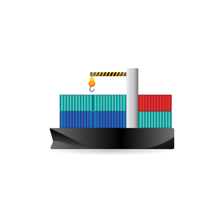 color distribution: Container shipping icon in color. Industrial distribution import export Illustration