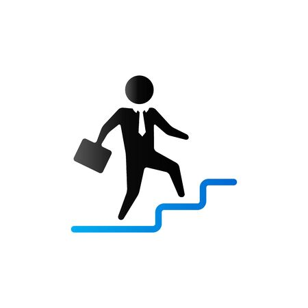 achievement concept: Businessman stairway icon in duo tone color. Business office future Illustration