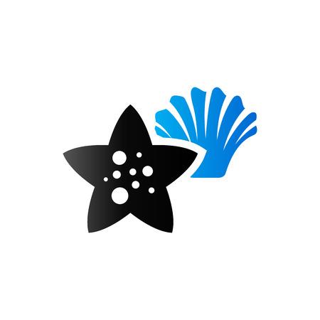 duo tone: Star fish icon in duo tone color. Sea animal creature cute