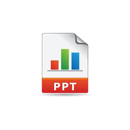 office presentation: Presentation file format icon in color. Data report information office Illustration