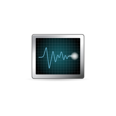 Heart rate monitor icon in color. Human pulse graph