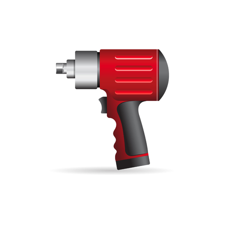 cordless: Electric screwdriver icon in color. Machine household work tool