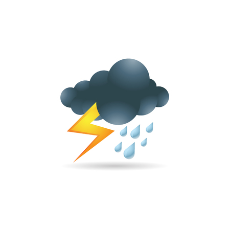 Weather overcast storm icon in color. Nature forecast thunder