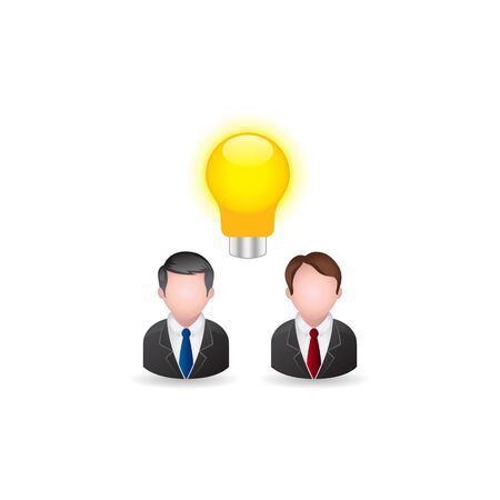 Teamwork icon in color. Business collaboration team