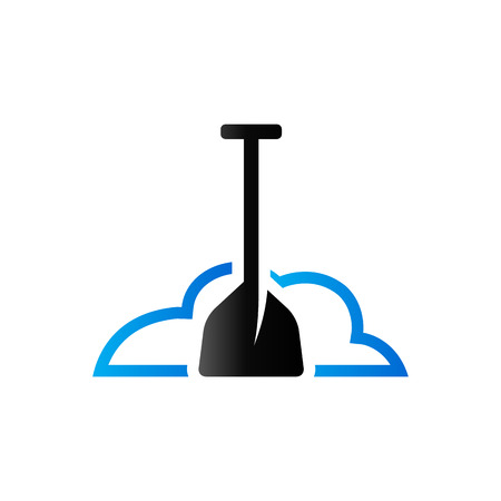 Snow and shovel icon in duo tone color. Winter cleaning