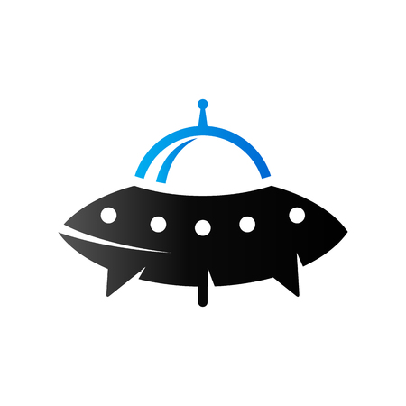 Flying saucer icon in duo tone color. Alien outer space