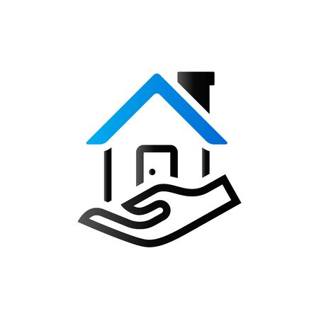 duo: Property care icon in duo tone color. House human hand palm