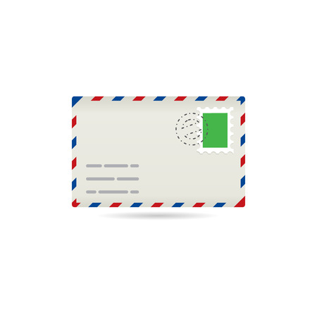 communication icons: Email icon in color. Envelope stamp post letter