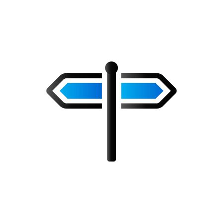 right choice: Road sign post icon in duo tone color. Travel holiday destination