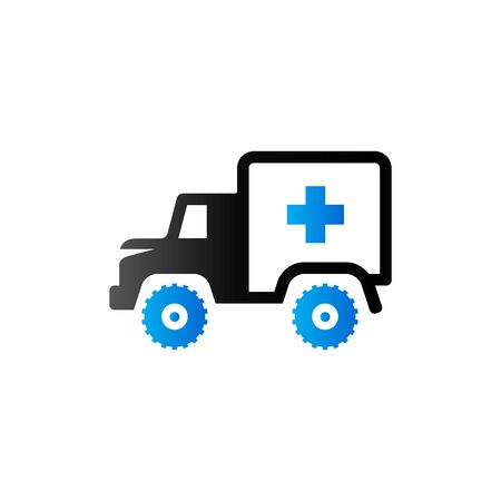 safety: Military ambulance icon in duo tone color. Vintage truck vehicle