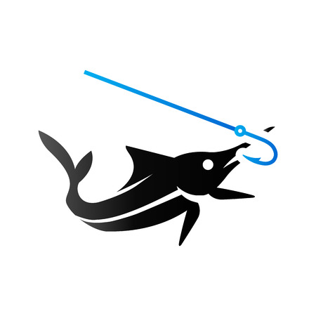 sailfish: Fish icon in duo tone color. Sport fishing marlin sailfish