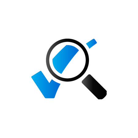 Magnifier check mark icon in duo tone color. Zoom find locate Illustration