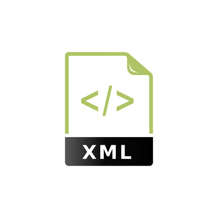 xml: XML file format icon in duo tone color. Computer software web design