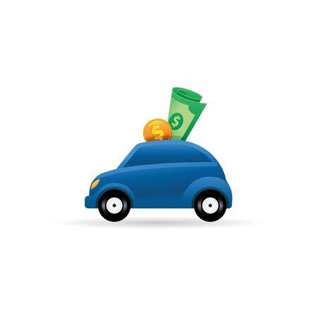 Icône de voiture tirelire en couleur. Sauvegarde bancaire automobile Vecteurs