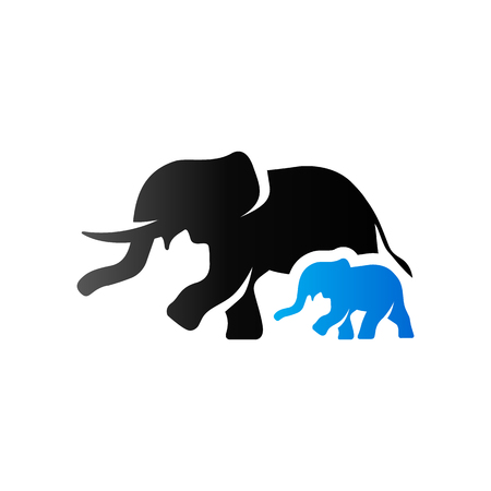 two animals: Elephant icon in duo tone color. Mammal zoo animal