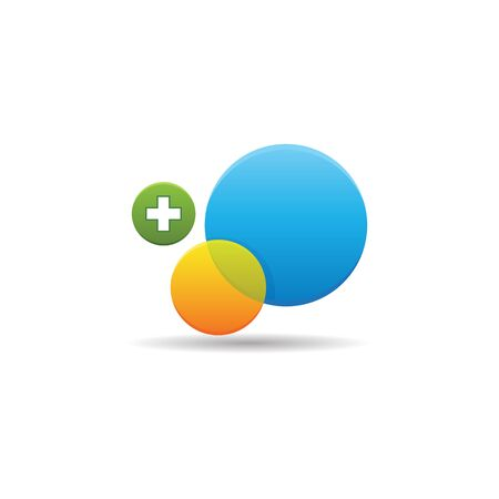 Circles and plus sign icon in color. Social media interaction Illustration