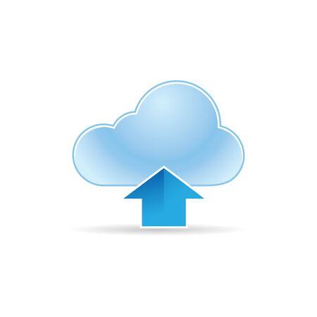 Cloud upload icon in color. Computing data storage Illustration