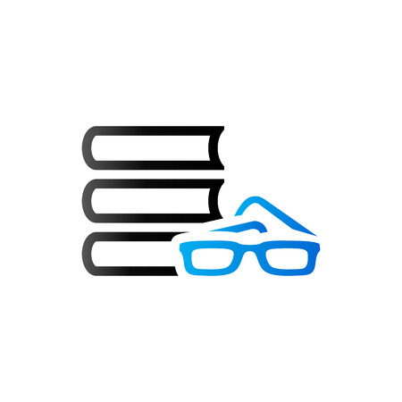 student with books: Books and glasses icon in duo tone color. Education student library Illustration