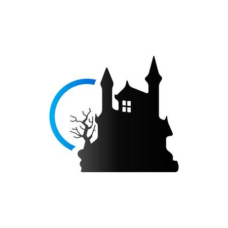 duo: Dark castle icon in duo tone color. Halloween symbol building Illustration