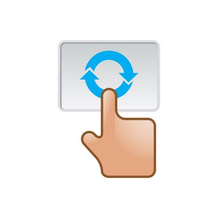 synaptic: Finger gesture icon in color. Gadget touch pad smartphone laptop Illustration