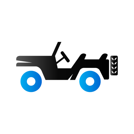 Military vehicle icon in duo tone color. Offroad country road